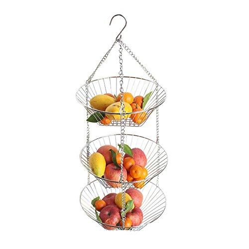 awayhall 3-Tier-Draht zum Aufhängen Abnehmbarer Obstkorb mit weißer Kettenverlängerung - Ideal für Obst, Gemüse, Snacks, Haushaltsgegenstände -