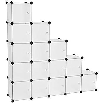 Songmics étagère De Rangement Avec 16 Casiers Armoire Plastique Avec Porte Modulable Bac Meuble Casier Cube Etageres Cubes Stable Assemblage