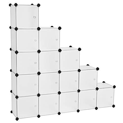 Songmics scaffale portaoggetti modulare fai da te con 16 cubi, mobile in plastica di qualità, guardaroba a scompartimenti, con ante bianche, stabile e facile da montare lpc44bs
