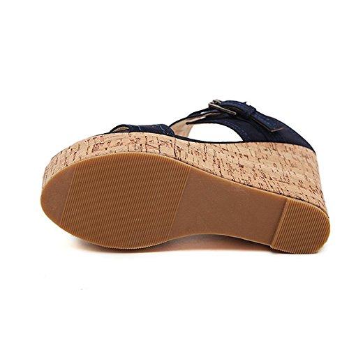 YMXJB Les bois creux mode coins talons Chaussures femmes sandales Blue