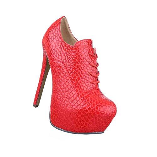 Damen Stiefeletten Schuhe Ankle Boots High Heels Schwarz Blau Rot 35 36 37 38 39 40 41 Rot AcAFkCpH