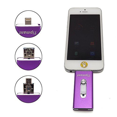 E-MART Tipmant High Capacity iPhone USB Flash Drive 32GB i-Flash U-Disk Memory Stick Pen Drive for Computer, iPhone amp; iPad Series and Android Smart Phone Series - (32GB, Purple)