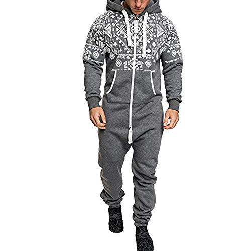 Herren Jumpsuit Jogger, Morbuy Unisex Herren Kapuzenpullover Strampelanzug Weihnachten Stil Onepiece Sweatshirt Männer Strampler Weich Nachtwäsche Fitness Bekleidung (3XL,Grau) -