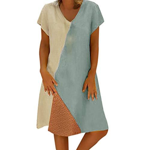 Momoxi Casual Grande Taille Robe D'été pour Femme T-Shirt,Robe Femme Sexy Chic Soiree Boite Nuit Hauts Robe Été Femme de Plage Rétro Robes Imprimé Bohémien Robe de Couleur Unie 2019 Nouveau