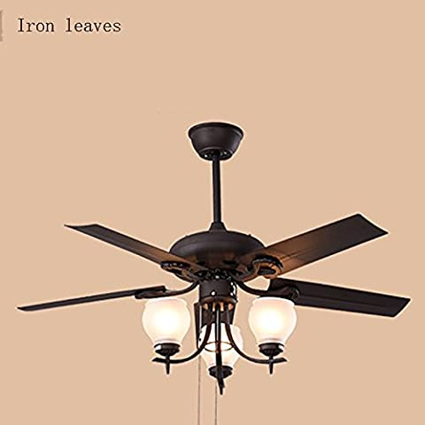 TOYM UK 48-inch American simple ceiling fan Nordic retro iron lamp with glass shade and 3-speed control ( Color : Iron leaves