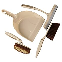 HOKIPO Wall Hanging Kitchen Bathroom Toilet Cleaning Household Brush Set with Dust Pan. (Brown)