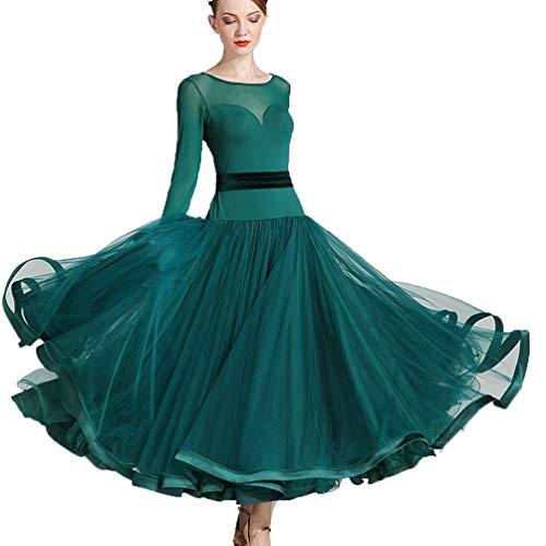 Turnierkleid Tutu, Modern Dance Rockkleid, Kostüm Performance Performance Gesellschaftstanz Kostüm (Color : Dark Green, Size : XXL) (Lycra Gewebe Für Tanz Kostüm)