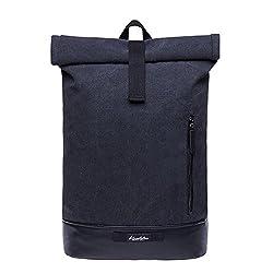 """KAUKKO Rucksack Roll Top Backpack Urban Vintage Tagesrucksack Herren Laptop Schulrucksack für 15"""" Notebook Daypacks Schultaschen für Wandern Reisen Camping"""