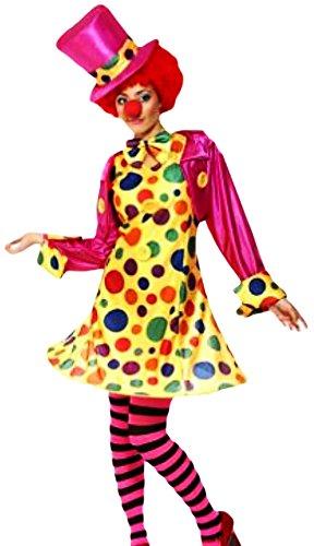 Clown 46 Kostüm Girl - erdbeerloft Damen Circus-Clown Frauen-Kostüm, komplett 5-teilig, pink gelb, 44-46 L