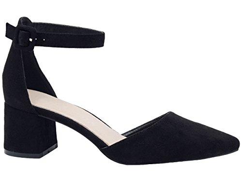 Greatonu Zapatos de Tacón Ancho Básico Popular Negro de Cita y Fiesta para Mujer Tamaño 39 EU