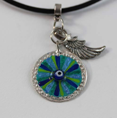 EYE OF HILARION Halskette 7-588 Auge Glücksbringer Flügel Damen Herren Schmuck Leger Handbemalt Blau Türkis Grün Schutz Talisman Mediterran