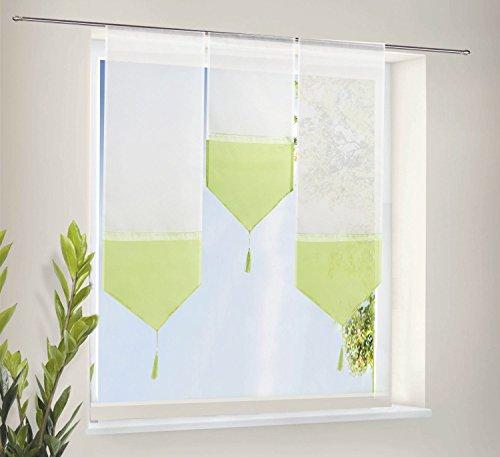 Scheiben Gardinen Set bestehend aus 3 transparenten Scheibengardinen mit Tunneldurchzug und Beschwerungsstab Apfelgrün, 20112