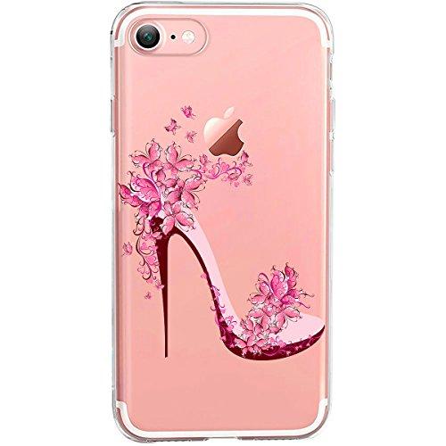 iPhone 8 / 7 Hülle | TheSmartGuard | transparente Schutzhülle aus Silikon | Im Blumen-Highheels Aufdruck / Motiv | in rosa bunt (7 High Heels)