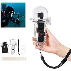 Flycoo Etui Boitier étanche pour DJI Osmo Pocket 60 mètre sous-Marin Plongée Nage Vlog Transparent Waterproof Protection Haute Transparence Imperméable Anti-Perdu Couvercle Boule