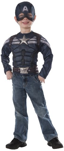 Marvel Captain America Winter Solder Stealth Muscle Chest Shirt and Mask