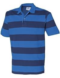 Front Row Herren Gestreift Pique Polo Shirt Regatta Blau/Navy 2X L