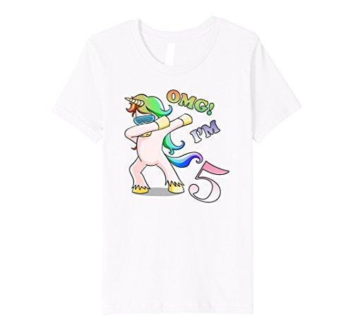 Youth OMG IM 5 Dabbing Unicorn T Shirt 5th Birthday Gift