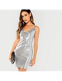 efe521e9f455 JJHR Dress Vestito da Donna Argento Metallizzato con Cut-out Vestito da  Donna Senza Maniche Elegante Abito da…
