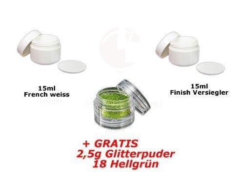 15ml Français Blanc + 15ml FINITION + glitterpuder 18 GRATUIT
