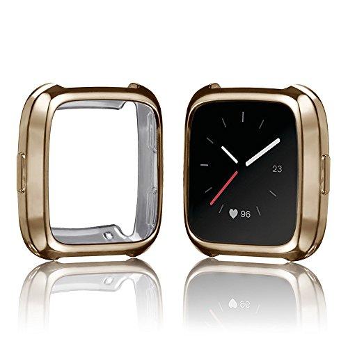 Für Fitbit Versa Schutzhülle,JSxhisxnuid Silikon Weiche Ultradünne TPU Kratzschutz displayschutz Hülle All-Around Für Fitbit Versa (Gold)