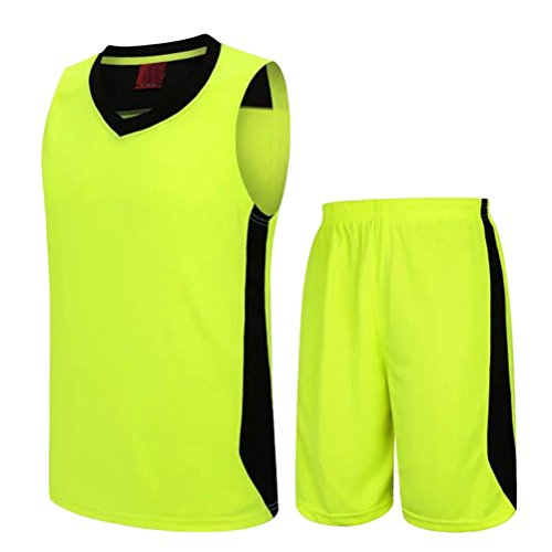Zhhlaixing Casual Gli sport Suit Mens Comfortable Loose Breathable Basketball Wear Fluorescent Green