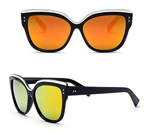 WSKPE Sonnenbrille,Mode Sonnenbrille Retro Calssic Frame Cat Eye Sonnenbrille Weibliche Brille Schwarzen Rahmen Orange Linse