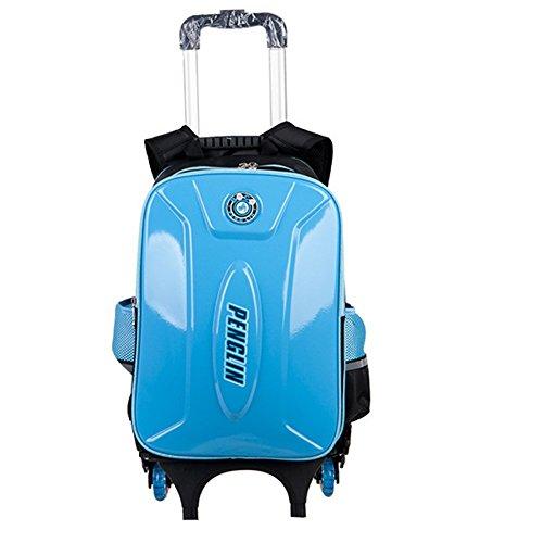 Zaino trolley da scuola per bambino/bambina di tela forte rimovibile e 3 ruote … (blu chiaro 1)