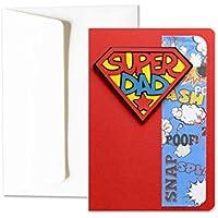 Super Dad - super héros - fête des pères - carte de voeux avec enveloppe (15 x 10,5 cm) - carte faite à la main - blanc à l'intérieur