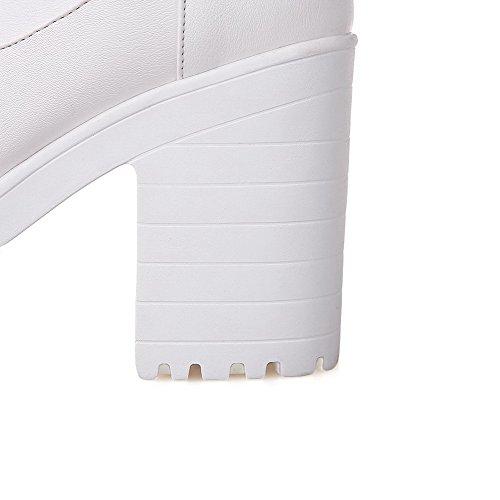 Odomolor Damen Weiches Material Ziehen Auf Rund Zehe Hoher Absatz Hoch-Spitze Stiefel Weiß