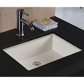 Wells Sinkware Rectangular 20 x 16 Ceramic Undermount Bathroom Sink Vanity Bisque