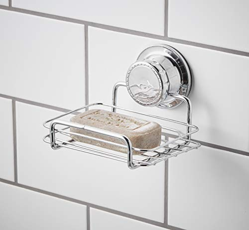 Bloomsbury Mill - Extra Strong Suction Soap Dish - Shower Soap Bar and Sponge Holder - Rust Resistant Vacuum Shelf - Chrome