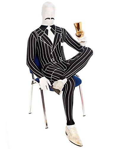 Morphsuit Gangster Mafia Kostüm schwarz weiss L
