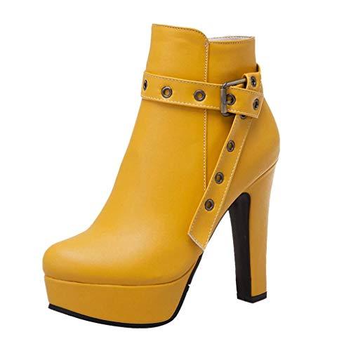 Stivali con Plateau Impermeabili Vendita Tacchi Alti A Testa Rotonda Stivaletti con Cerniera Scarpe da Festa per Donna/Ragazza Kinlene