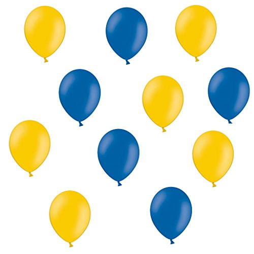 50 Premium Luftballons in Gelb/Blau - Made in EU - 100% Naturlatex somit 100% giftfrei und 100% biologisch abbaubar - Geburtstag Party Hochzeit Silvester Karneval - für Helium geeignet - twist4® (Und Gelbe Blaue Luftballons)