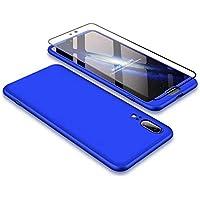 Huawei P20 Hülle JINICHANGWU 360° Rundumschutz-Schale mit Gratis Panzerglas Anti-Kratzer Handyhülle Schutzhülle Case (Blau)