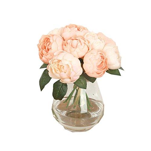 Coloré(TM)1 Bouquet De Pivoine Artificielle Feuilles 6 Chefs Fleur En Soie Maison Mariage Decor (Rose)