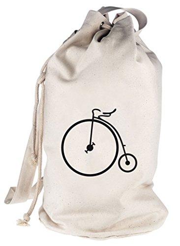 Hochrad, Bike Fahrrad bedruckter Seesack Umhängetasche Schultertasche Beutel Bag Natur