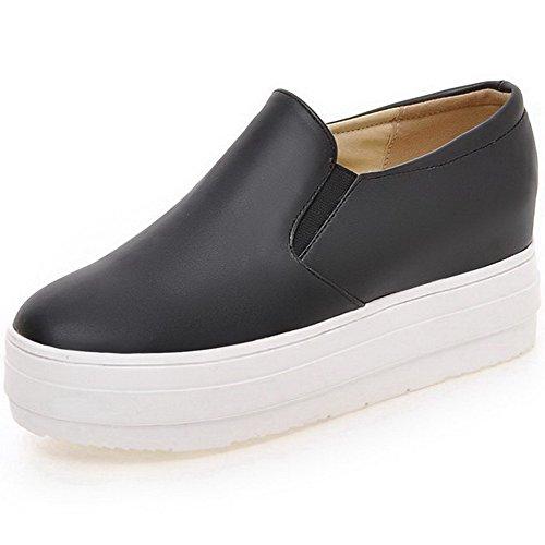 AllhqFashion Femme Tire Rond à Talon Correct Couleur Unie Pu Cuir Chaussures Légeres Noir