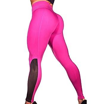LEvifun Pantalons De Yoga Coutures Mode Femmes Leggings Taille Haute Élastique Longue Transparent Solide Chic Yoga Course Running Fitness Sports Pantalons Trousers Pants pour Femmes