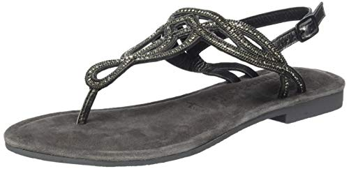 Tamaris 1-1-28115-22, sandali con cinturino alla caviglia donna, nero (black metallic 12), 37 eu