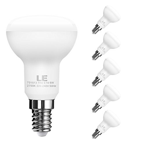 LE 5er E14 LED Reflektor Reflektorlampe R50, ersetzt 45W Glühlampen, LED Birnen Lampe 6W 450lm Warmweiß 2700K 120 ° Abstrahlwinkel (Led 45w)