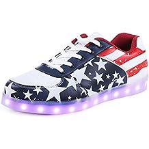 SAGUARO(TM) 7 Farbe USB Aufladen LED Leuchtend Sport Schuhe Sportschuhe Sneaker Turnschuhe für Unisex-Erwachsene Herren Damen
