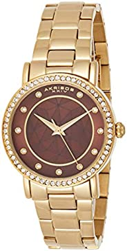 Akribos Xxiv Women's Ak880Ygbr Round Brown Dial Three Hand Quartz Bracelet Watch, Gold Band, Analog Dis