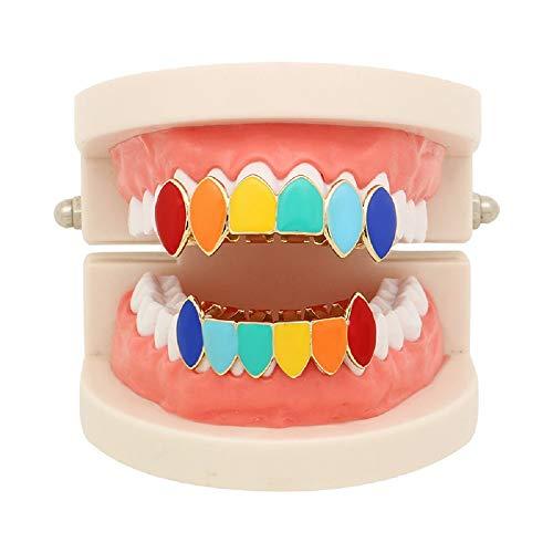 Godmoy Hip Hop-Regenbogen-Grillz-Gefälschte Zahnspange-Grill-Zähne bunt für Ihre Zähne Gold überzogen