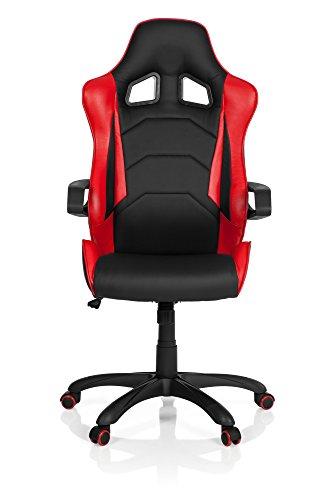 hjh OFFICE 621883 Gaming PC Stuhl RACER PRO I Kunstleder Schwarz/Rot Chefsessel Drehstuhl mit Armlehnen & Wippfunktion