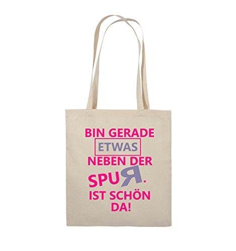 Comedy Bags - Bin gerade etwas neben der Spur. Ist schön da! - Jutebeutel - lange Henkel - 38x42cm - Farbe: Schwarz / Weiss-Neongrün Natural / Pink-Violet