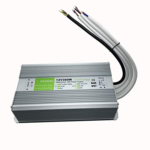 YXH Transformateur Electrique, 300 Watt, Ac 170-250V Convertisseur étanche IP67 Conducteur Pour éclairage Interieur, LED ruban, Modules LED et Multi-usage éclairages Exterieur