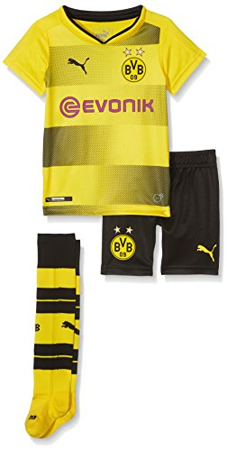 Puma Kinder Fußball T-Shirt BVB Home Minikit with Socks with Sponsor Logo with Packaging, Cyber Yellow Black, 92, 751692 01