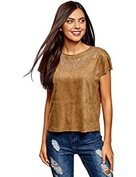 oodji Ultra Donna Top in Camoscio Artificiale con Decorazioni in Strass Metallici