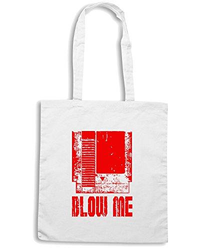 T-Shirtshock - Borsa Shopping FUN0822 Blow Me Nintendo Cart Bianco